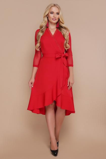 черное платье для полных с воланом. платье Алеся-Б д/р. Цвет: красный
