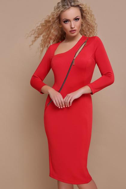 черное платье с молнией. платье Лилита д/р. Цвет: красный