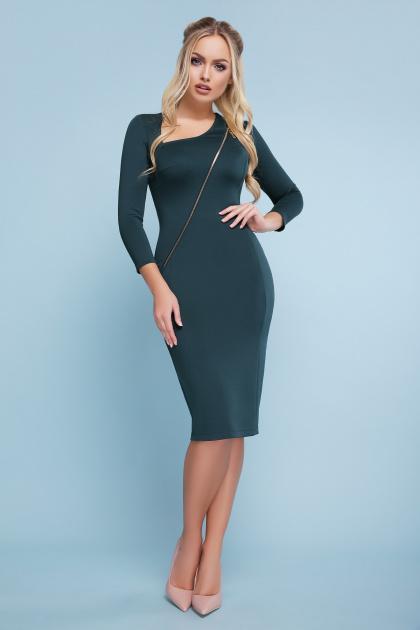 черное платье с молнией. платье Лилита д/р. Цвет: изумруд