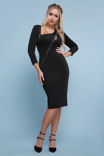 черное платье с молнией. платье Лилита д/р. Цвет: черный