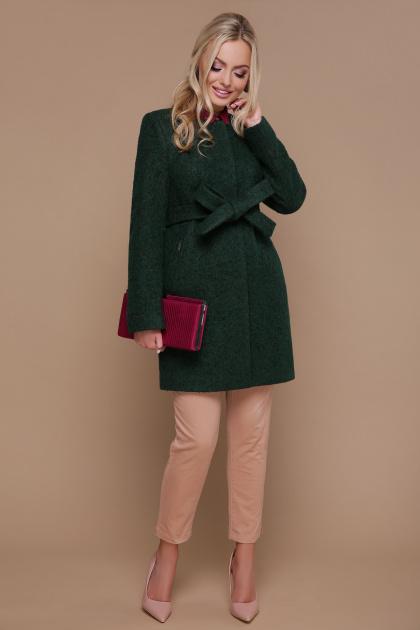 ярко-синее пальто без воротника. пальто П-337. Цвет: 1225-темно-зеленый
