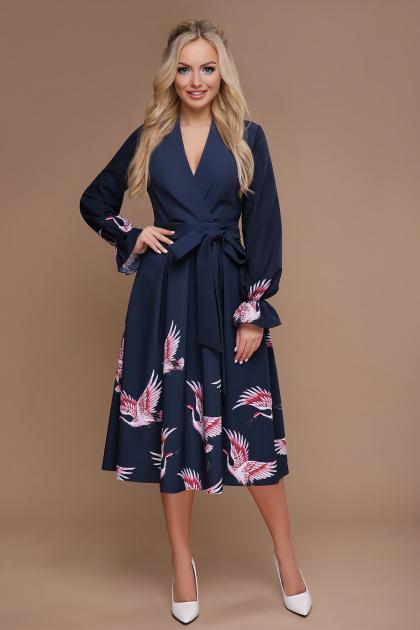 синее платье с пышной юбкой. Аисты платье Ангелина д/р. Цвет: синий