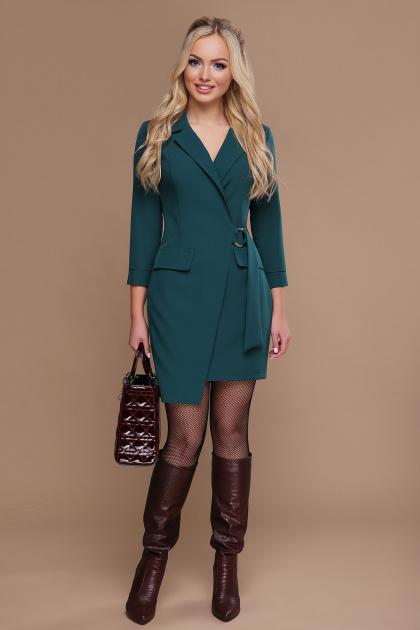бордовое платье для офиса. платье Полина д/р. Цвет: изумруд