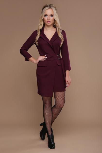 бордовое платье для офиса. платье Полина д/р. Цвет: бордо