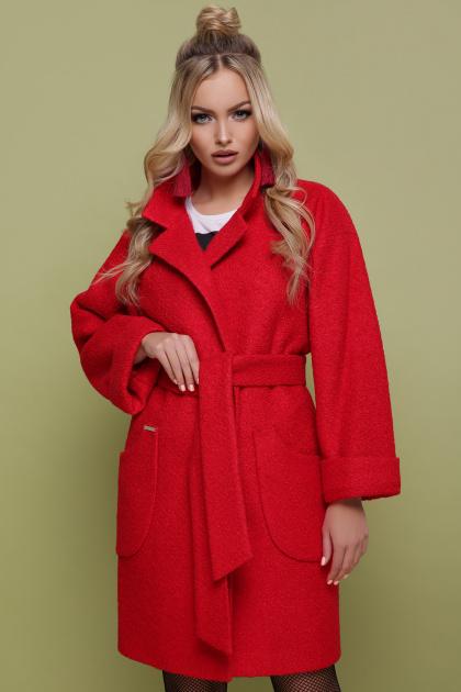 бордовое пальто с накладными карманами. пальто П-301-90. Цвет: 1201-красный