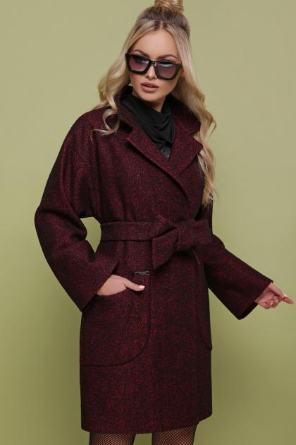 бордовое пальто с накладными карманами. пальто П-301-90. Цвет: 1302-бордовый