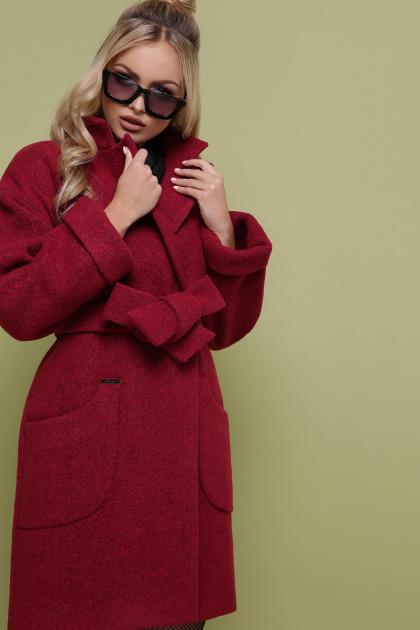 бордовое пальто с накладными карманами. пальто П-301-90. Цвет: 120-брусника