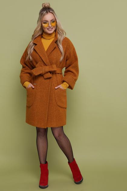 бордовое пальто с накладными карманами. пальто П-301-90. Цвет: 277-горчица