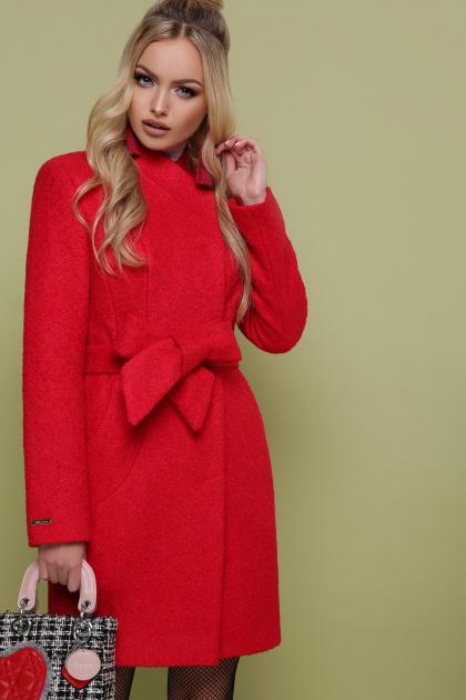бирюзовое пальто с поясом. пальто П-308. Цвет: 1201-красный