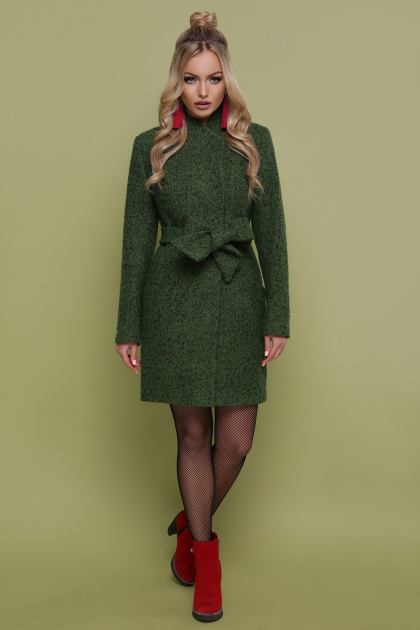 бирюзовое пальто с поясом. пальто П-308. Цвет: 1203-зеленый