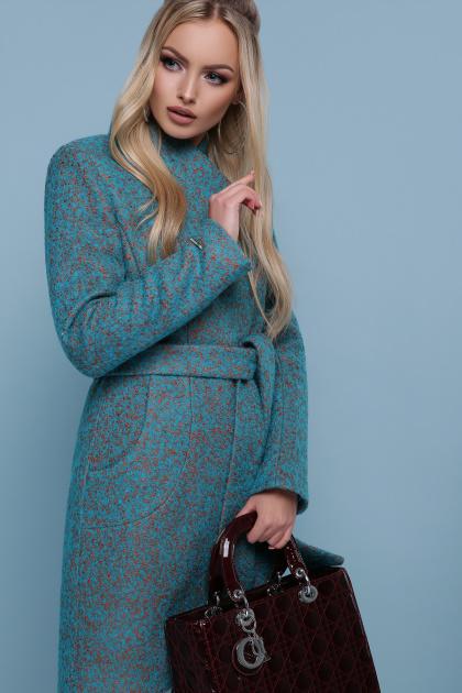 бирюзовое пальто с поясом. пальто П-308. Цвет: 1221-волна