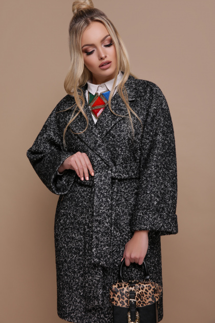 клетчатое пальто прямого кроя. пальто П-300-90. Цвет: 1202-серый