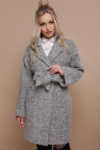 клетчатое пальто прямого кроя. пальто П-300-90. Цвет: 1205-серый