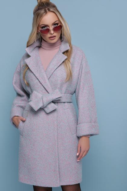 клетчатое пальто прямого кроя. пальто П-300-90. Цвет: 1209-розовый