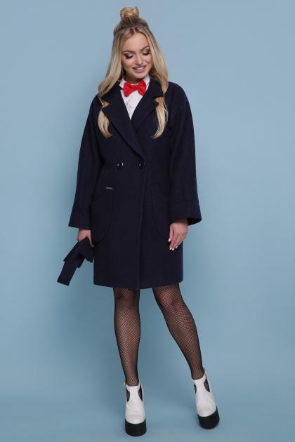 бордовое пальто с накладными карманами. пальто П-301-90. Цвет: темно синий