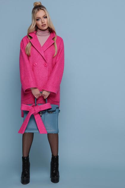 клетчатое пальто прямого кроя. пальто П-300-90. Цвет: 1210-малина