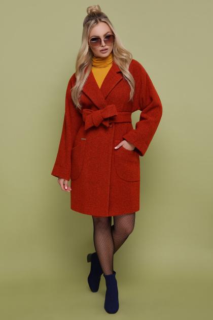 бордовое пальто с накладными карманами. пальто П-301-90. Цвет: 170-терракот