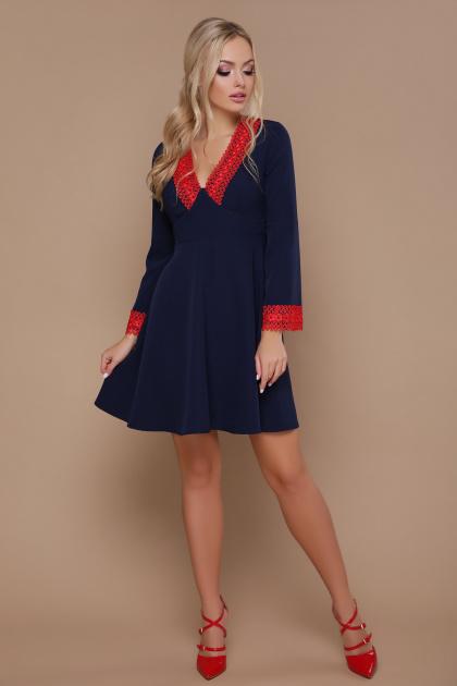 синее платье с кружевом. платье Нита д/р. Цвет: синий