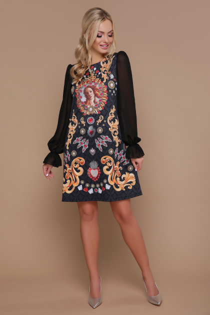 трикотажное платье с шифоновыми рукавами. Венера платье Афродита д/р. Цвет: принт