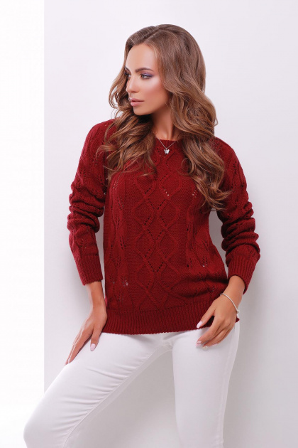 удлиненный коричневый свитер. Свитер 141. Цвет: бордовый