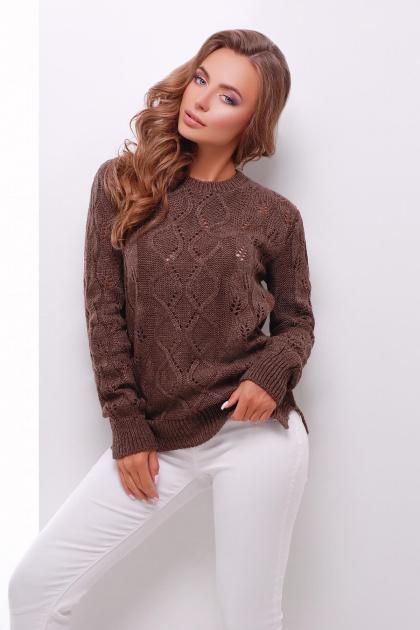 удлиненный коричневый свитер. Свитер 141. Цвет: коричневый