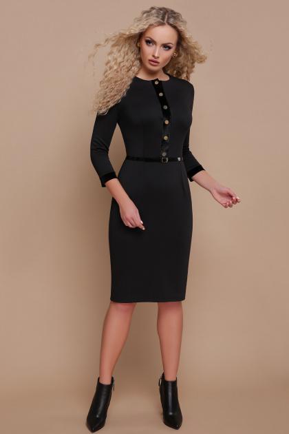 трикотажное платье цвета капучино. платье Ванесса д/р. Цвет: черный
