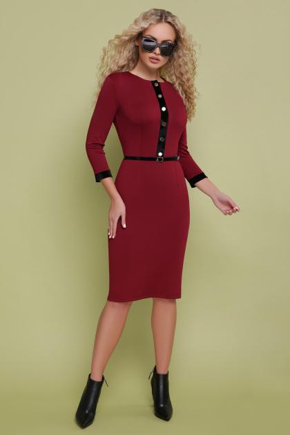 трикотажное платье цвета капучино. платье Ванесса д/р. Цвет: бордо