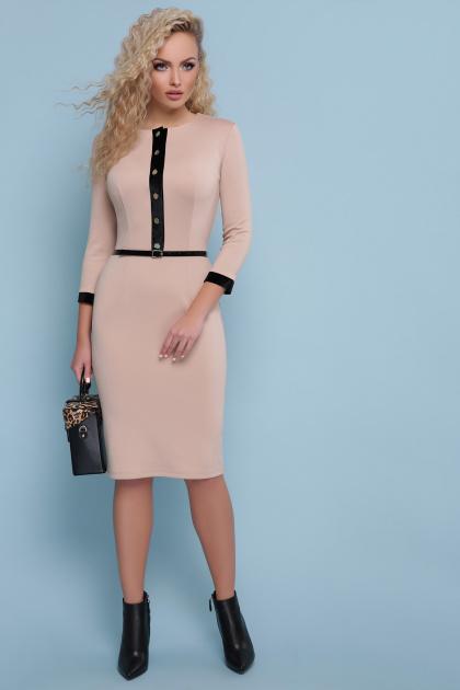 черное платье с рукавом три четверти. платье Ванесса д/р. Цвет: капучино