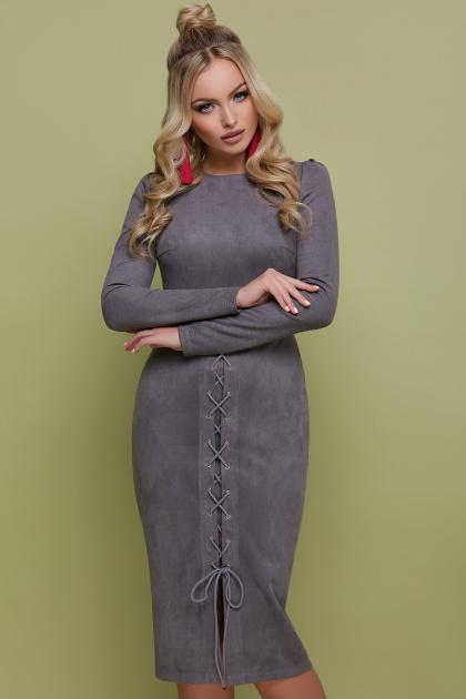 серое замшевое платье. платье Таяна д/р. Цвет: серый