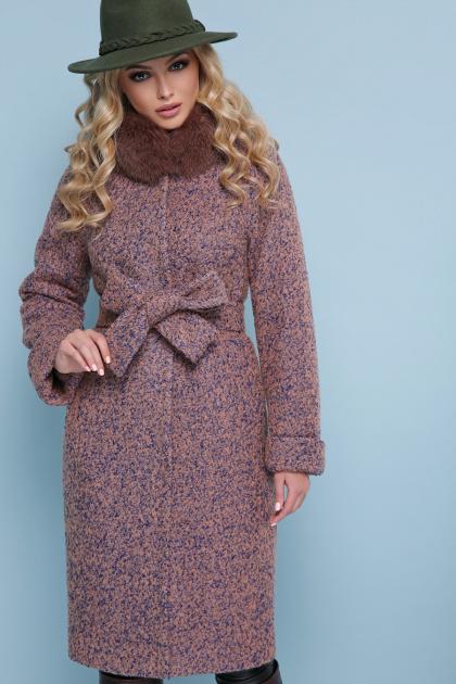 горчичное пальто с мехом. пальто П-302-100 зм. Цвет: 1208-розовый