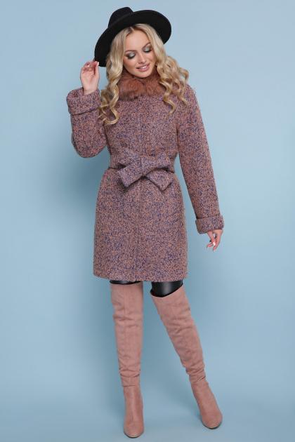 коричневое пальто с мехом. пальто П-302-85 зм. Цвет: 1208-розовый