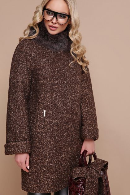 коричневое пальто с мехом. пальто П-302-85 зм. Цвет: 1224-коричневый