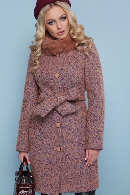 розовое зимнее пальто. пальто П-332 бм. Цвет: 1208-розовый