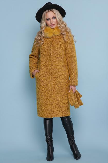 горчичное пальто с мехом. пальто П-302-100 зм. Цвет: 1223-горчица