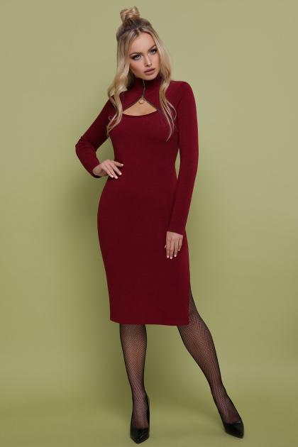 бордовое платье с длинным рукавом. платье Альбина д/р. Цвет: бордо