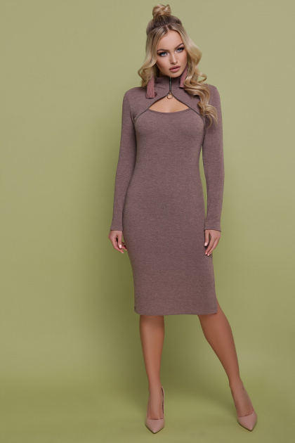 бордовое платье с длинным рукавом. платье Альбина д/р. Цвет: капучино