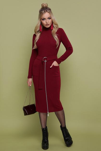 черное трикотажное платье. платье Виталина д/р. Цвет: бордо