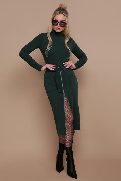 черное трикотажное платье. платье Виталина д/р. Цвет: изумруд