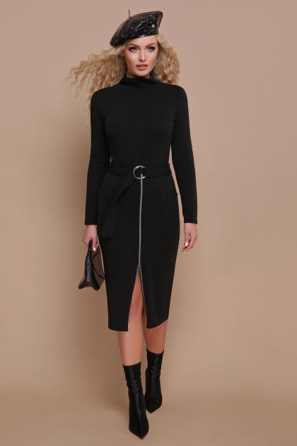 черное трикотажное платье. платье Виталина д/р. Цвет: черный