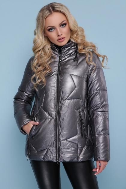 короткая серебристая куртка. Куртка 18-146. Цвет: графит