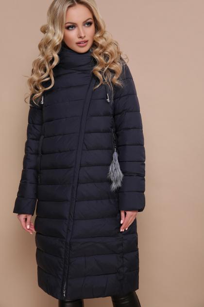 длинная серая куртка. Куртка 18-32. Цвет: синий