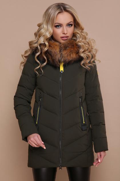короткая куртка цвета хаки. Куртка 18-183. Цвет: хаки