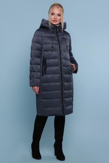 длинная куртка больших размеров. Куртка 18-197-Б. Цвет: серо-синий