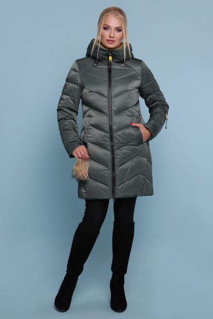 блестящая куртка цвета хаки. Куртка 18-71. Цвет: хаки