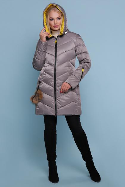 блестящая куртка цвета хаки. Куртка 18-71. Цвет: серый