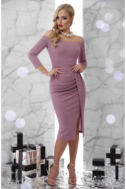 сиреневое платье с открытыми плечами. платье Амелия д/р. Цвет: лавандовый