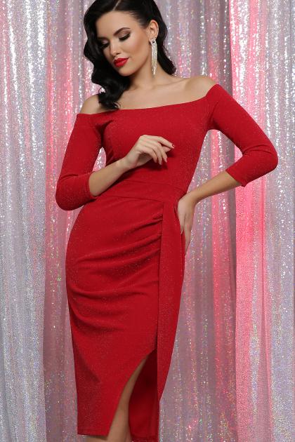 сиреневое платье с открытыми плечами. платье Амелия д/р. Цвет: красный