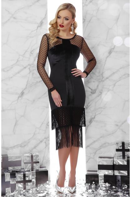 черное платье с бахромой. платье Багира д/р. Цвет: черный