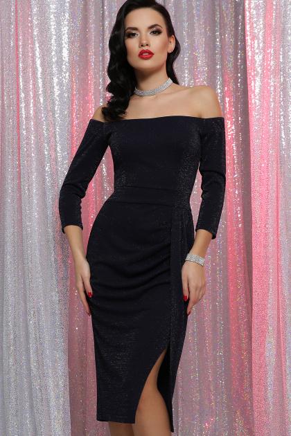 сиреневое платье с открытыми плечами. платье Амелия д/р. Цвет: синий