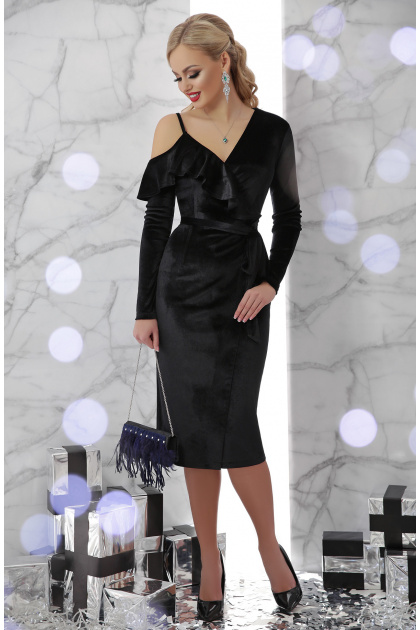 изумрудное вечернее платье с запахом. платье Валерия д/р. Цвет: черный